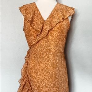 Orange Floral Wrap Ruffle Dress